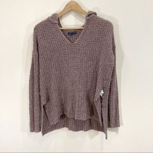 American Eagle Knit Sweater Brown Hoodie Small